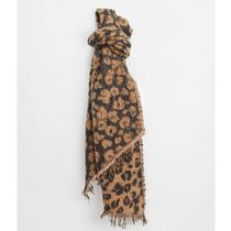 ASOS Pieces oversized scarf in beige animal print