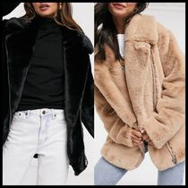 ASOS DESIGN faux fur biker jacket