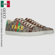Gucci ACE FAKE/NOT PRINT GG SUPREME CANVAS SNEAKERS