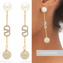 VALENTINO Crystal-embellished V-logo drop earrings ピアス