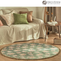 DECO VIEW★Vintage Green Rose Bouquet Drawing Circle Rug