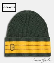 人気【COACH】US正規買付★Striped Beanie With Coach Patch帽子