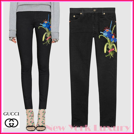 GUCCI★素敵!Black EMBROIDERED BLUE FLOWER Skinny JEANS
