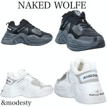 【NAKED WOLFE】レースアップ厚底◆ダッドスニーカー/モノクロ
