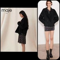 maje DOUBLE FACE AND FAUX LEATHER JACKET