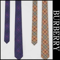 送関込★Burberry★Tie Slim Cut Equestrian Knight Check Silk