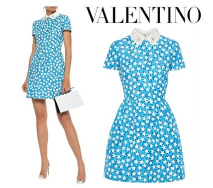 VALENTINO ワンピース VALENTINO☆Studded leather-trimmed printed wool&silk-blend