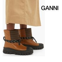 ☆ GANNI ☆ Quilted-panel leather biker boots ☆SALE