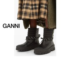 ☆ GANNI ☆ Quilted-panel leather biker boots ☆SALE☆