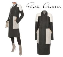 RICK OWENS☆Faux suede-paneled camel and linen-blend coat