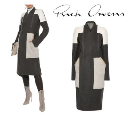 RICK OWENS コート RICK OWENS☆Faux suede-paneled camel and linen-blend coat