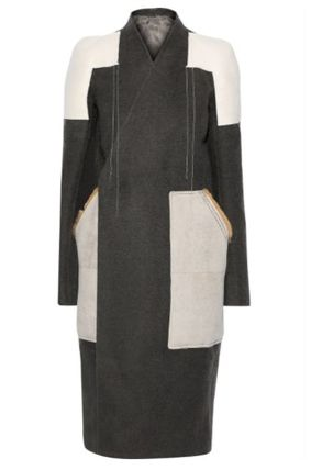 RICK OWENS コート RICK OWENS☆Faux suede-paneled camel and linen-blend coat(2)