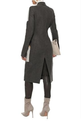 RICK OWENS コート RICK OWENS☆Faux suede-paneled camel and linen-blend coat(4)