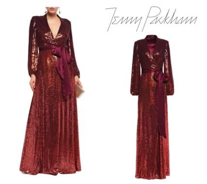 Jenny Packham ワンピースその他 JENNY PACKHAM☆Sequined satin-trimmed silk-georgette gown