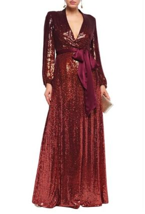 Jenny Packham ワンピースその他 JENNY PACKHAM☆Sequined satin-trimmed silk-georgette gown(3)