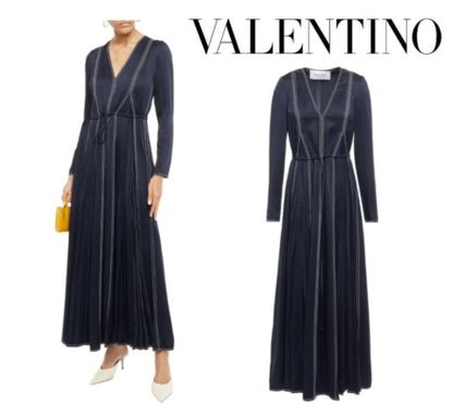 VALENTINO ワンピース [関税・送料込] VALENTINO☆Pleated satin-crepe maxi dress