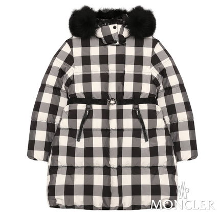 """New*moncler""""Calice""""チェック柄ファーダウン/~14A大人OK[関税込]"""