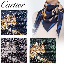 Cartier PANTHER PIXEL MOTIF SCARF シルクツイル 豹 3色 GIFT