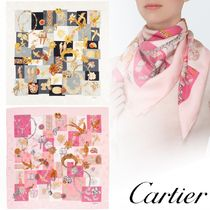 Cartier PRECIOUS FAUNA AND FLORA MOTIF SCARF シルク 2色 GIFT