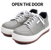 OPEN THE DOOR cow hide rounded sneakers