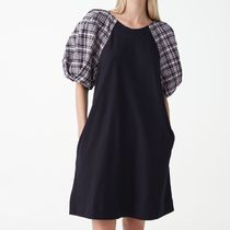 """""""COS"""" CHECKED PUFF SLEEVE COTTON DRESS NAVY/WHITE"""