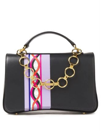 Chance chain-detailed printed leather shoulder bag