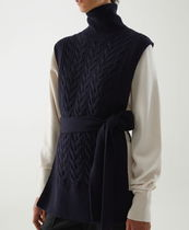 """COS"" CABLE KNIT ROLL-NECK BELTED VEST NAVY"