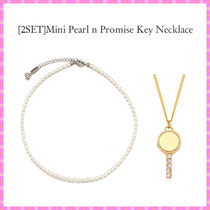 【VINTAGE HOLLYWOOD】Mini Pearl n Promise Key Necklace2連set