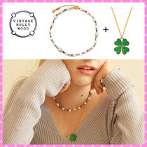 【VINTAGE HOLLYWOOD】Autumn Pearl n Beads+Clover Necklace