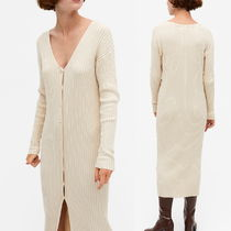 """MONKI"" Ribbed knit cardigan dress LightBeige"