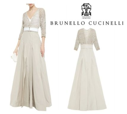 BRUNELLO CUCINELLI ワンピース BRUNELLO CUCINELLI☆Embellished open knit-paneled maxi dress