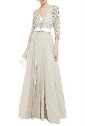 BRUNELLO CUCINELLI ワンピース BRUNELLO CUCINELLI☆Embellished open knit-paneled maxi dress(3)