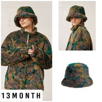 日本未入荷★13MONTH★PATTERNED FUR BUCKET HAT (BROWN)