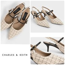 ★CHARLES & KEITH★Tweed & Leather Slingback Pumps/送料込