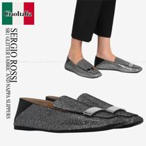 SERGIO ROSSI   SR1 GLITTER FABRIC AND NAPPA SLIPPERS
