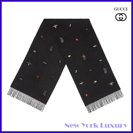 Gucci★素敵!Black Small Embroidered Silk/Cashmere Long Scarf