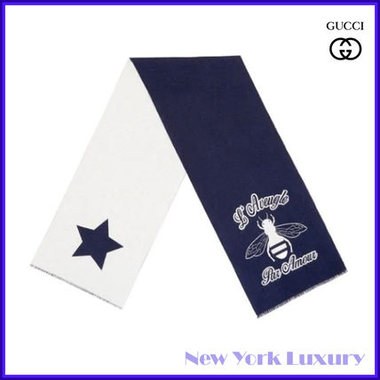 Gucci★素敵!Sapphire Blue Bee Embroidered Wool Scarf