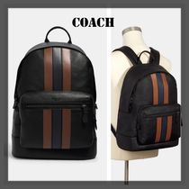 SALE☆COACH☆ West Backpack With Varsity Stripe Brown