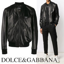 DOLCE&GABBANA Leather jacket with branded plate