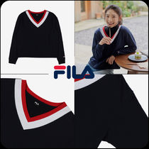 [ FILA ]★W drop shoulder V-neck Point sweatshirt