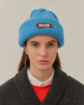 [ ADERERROR ] Calli leather patch beanie Sky blue