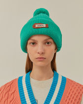 [ ADERERROR ] Calli leather patch beanie Turquoise