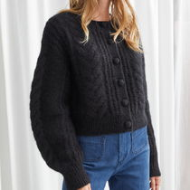 """""""& Other Stories"""" Cropped Button Up Knit Sweater Black"""