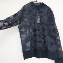 """COS"" ABSTRACT ART DETAIL SHEER ROLL-NECK JUMPER NAVY"
