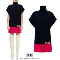 【ELISABETTA FRANCHI】FW19-20 KNIT DRESS WITH HIGH COLLAR