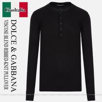 DOLCE & GABBANA VISCOSE BLEND RIBBED-KNIT PULLOVER