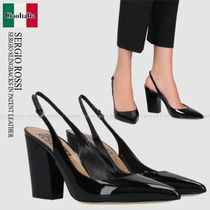 SERGIO ROSSI   SERGIO SLINGBACKS IN PATENT LEATHER
