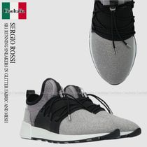 SERGIO ROSSI SR1 RUNNING SNEAKERS IN GLITTER FABRIC AND MESH