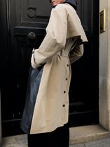 ROKH LEATHER PANEL TRENCH