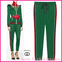 Gucci★素敵!Green Technical Jersey Jogging Pants with Web